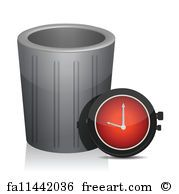 Trash And Timer Watch Illustration - Art Print
