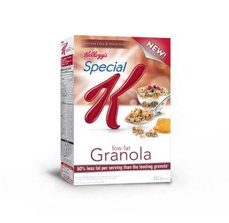 Excellentes au petit déjeuner ou à la collation, les céréales SpecialK* Granola pauvre en gras contiennent des grappes d'avoine entière et un soupçon de miel sucré avec 5g de fibres par portion.