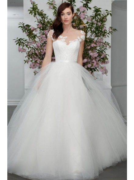 Chic Illusion Natural Train Tulle White Cap Sleeve Wedding Dress with Appliques and Ribbons LWXT15090  #weddingdress #landybridal