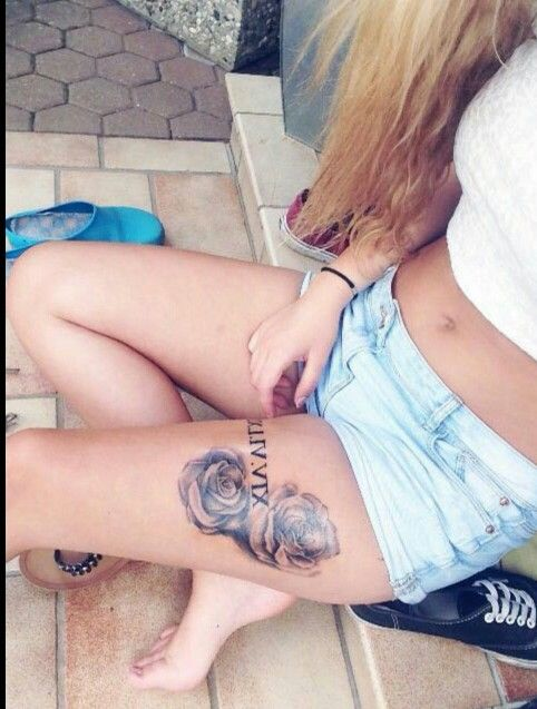 Oberschenkel Tattoo || römische Zahlen || Rosen Tattoo || Roses