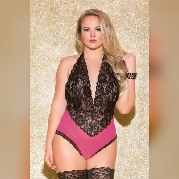 """PLUS Size Lingerie Teddy, halter & back thong NWT scallop lace and contrast hot pink mesh halter teddy , one plus size  #GLIT15  Seamless  Backless Stretchy 90%nylon, 10% spandex Glitter lingerie   Comes in One queen size: fits dress size 14-20, bust 30""""-37"""", waist 24""""-31"""", hip 32""""-39""""  Firm price • BUNDLE to save!   Plus size intimates  Plus size lingerie Glitter Intimates & Sleepwear"""