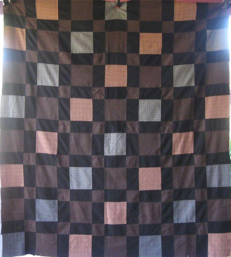 Rich and Earthy Antique Vintage Block Quilt Top - Gabardines, Men's Suit Fabrics