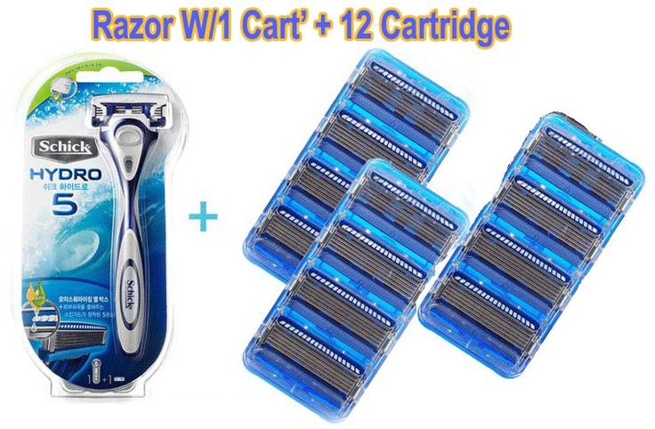 New Schick Hydro5 Blade Razor W/1 Cart' + 12 Cartridge Package 12 Cartridge Refills  (NEW in sealed Package)