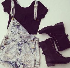 Overalls Shorts Outfits, Grunge Winter Outfits Punk, Style, Grunge Fashion Shoes, Punk Grunge Fashion Outfits, Cute Clothing For Teen Hipster, ...