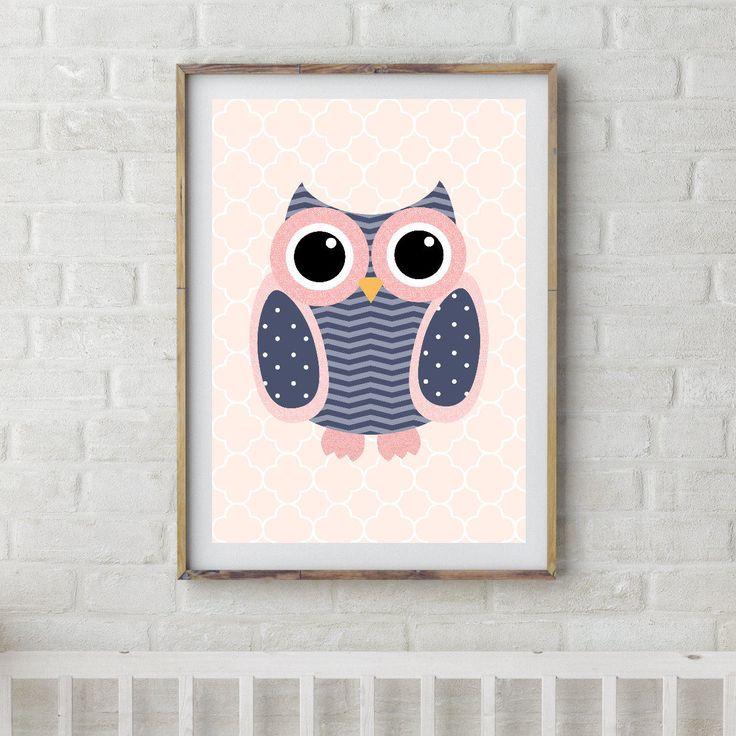 Owl Printable Decor, Owl Download, Owl Digital Art, Owl Poster, Owl Printable, Owl Wall Art, Owl Wall Poster, Chevron Owl, Instant Download