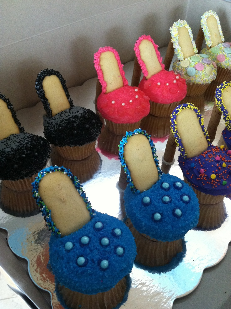 I made these High Heel Pump cupcakes for a lingerie bridal shower. Use Milano cookies for the sole & Pirouettes for the heel. Super cute & a big hit!!
