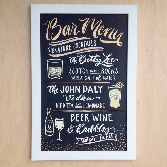 Signature Drink Sign Chalkboard Bar Menu Wedding Sign : Hand Painted White Gold + Blush Lettering Custom Bar Sign Illustration Papertangent