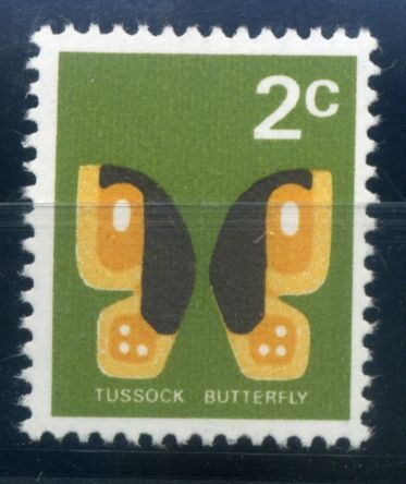 NZ Error 1970 Definitives 2c Tussock Butterfly black omitted includes value and country