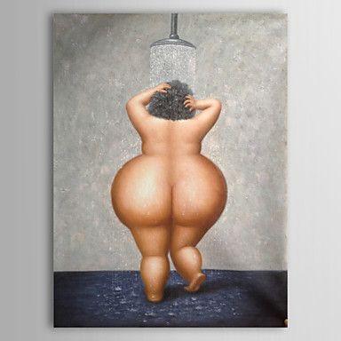 pintados à mão pintura a óleo de pessoas mulher tomando banho nua com quadro esticado 1307-pe0280 – BRL R$ 244,82