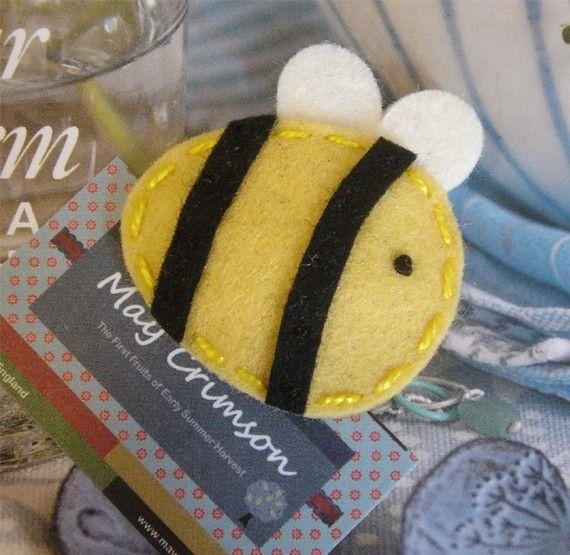 NON SLIP di lana feltro capelli clip - Bee-bambino - giallo