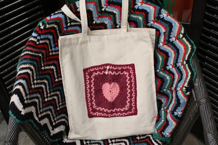 crochet square embelished tote bag