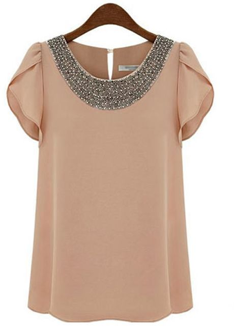 Lotus Sleeve Design Beaded Chiffon Top