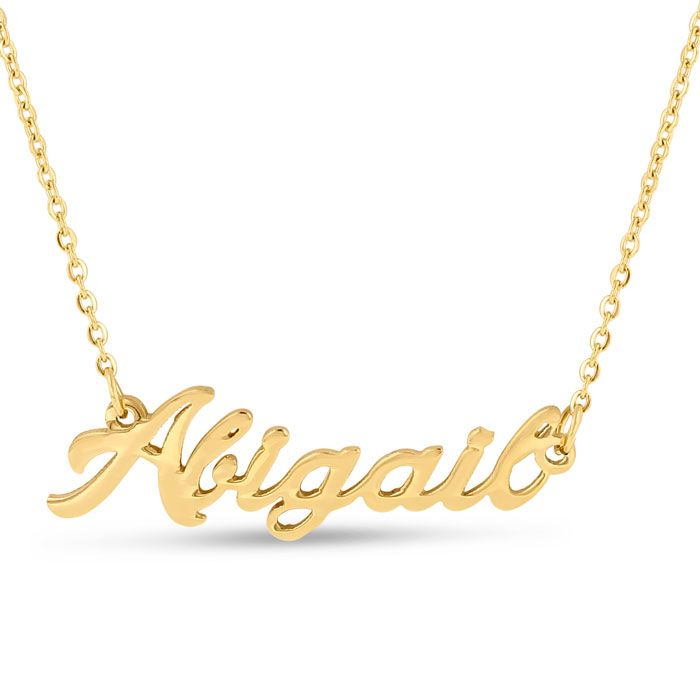 Abigail Nameplate Necklace In Gold: Abigail Nameplate Necklace In Gold Express yourself in this dainty nameplate necklace,… #Jewelry