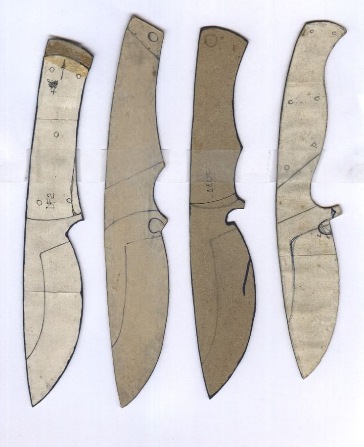 Make your own knife - Blade shapes. This links to a board where you can join in and meet fellow knife making enthusiasts; or you can just use these pictures of knives as an idea to build your knife from.