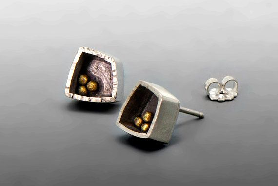 Modern Sterling Silver and Gold Studs Understated by AlexMetalArts, $234.00