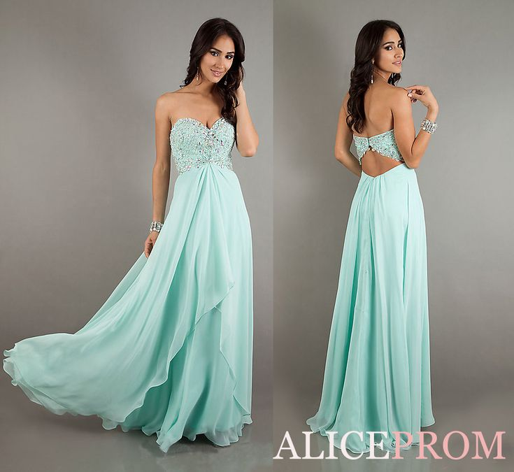 2013 New Mint Beaded Long Chiffon A-line Evening Dress Prom Gown Hot-selling US $98.00