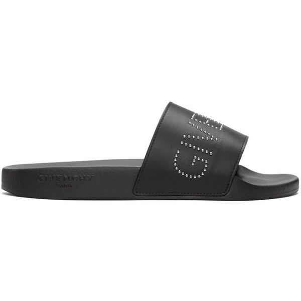 Givenchy Black Studded Logo Sandals (1.175 BRL) ❤ liked on Polyvore featuring men's fashion, men's shoes, men's sandals, black, givenchy mens shoes, mens black slip on shoes, mens slip on shoes, mens black shoes and mens black sandals