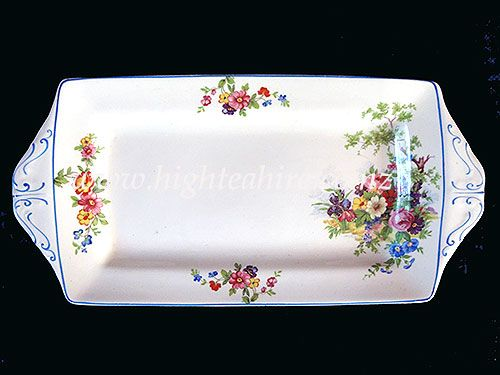 A beautiful Alfred Meakin sandwich platter for hire from highteahire.co.nz