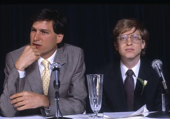 A young Bill Gates with Steve Jobs 1985