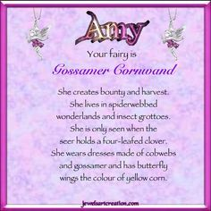PurpleDebbie Jewels Art Creation Names Amy   Amy Fairy Name