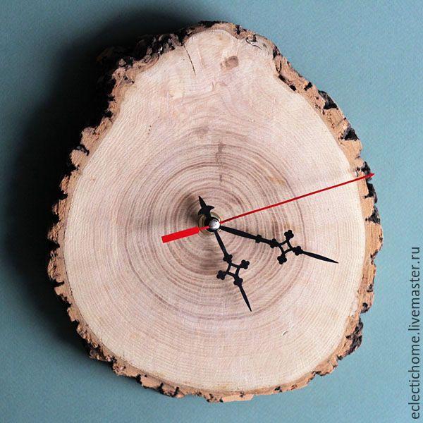 Купить Часы из дерева, 22 см - бежевый, часы, часы настенные, настенные часы