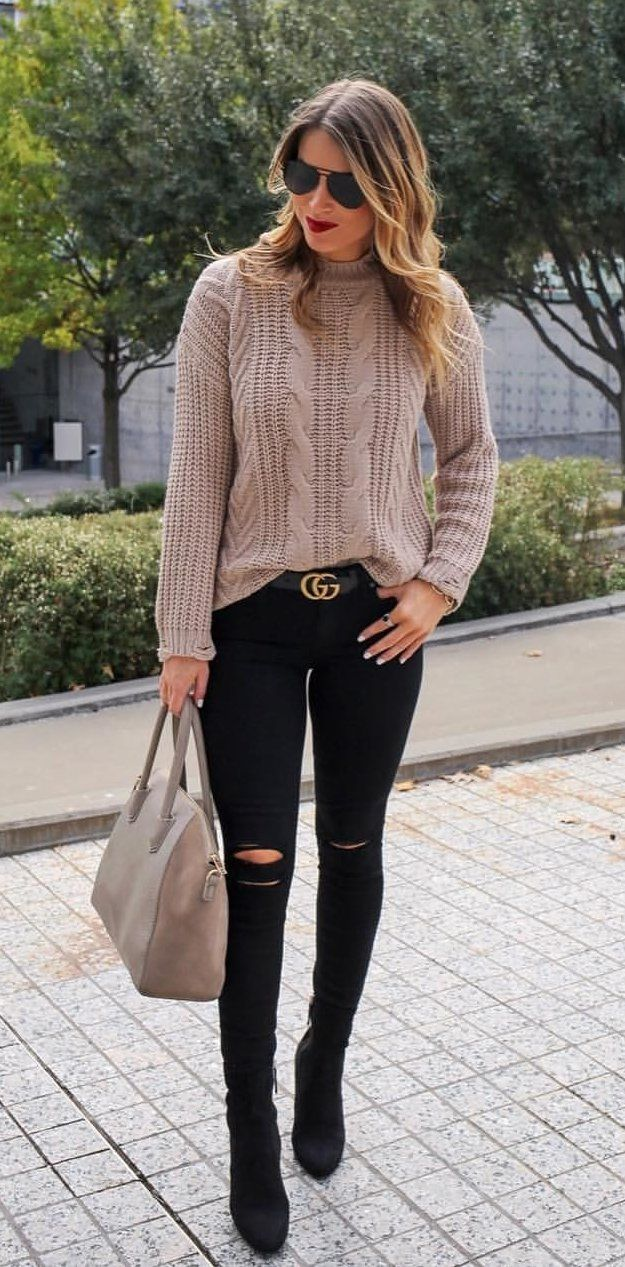 #fall #outfits women's beige crew-neck sweater and pair of black tattered jeans. Click To Shop This Look.