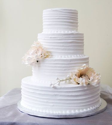 """""""Floral Striped Texture"""" cake by Dewey's Bakery  I'd add white flowers with green accents"""