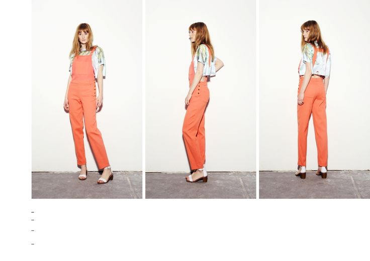 Coral-peach dungarees with golden snap button fastening on the side