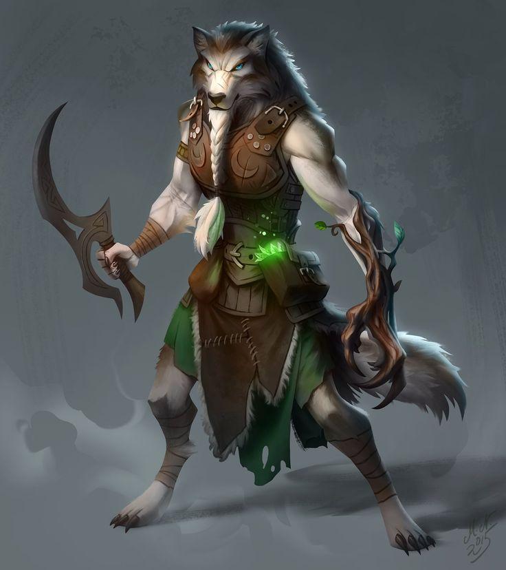 Wolfen Druid, Magnus Norén on ArtStation at https://www.artstation.com/artwork/wolfen-druid