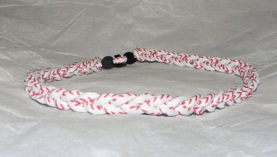 "BASEBALL Titanium TORNADO Sport Necklaces 20/"" Orange Gray Grey Braided NEW"