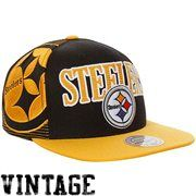 Mitchell & Ness Pittsburgh Steelers Throwback Laser Stitch Snapback Hat - Black/Gold
