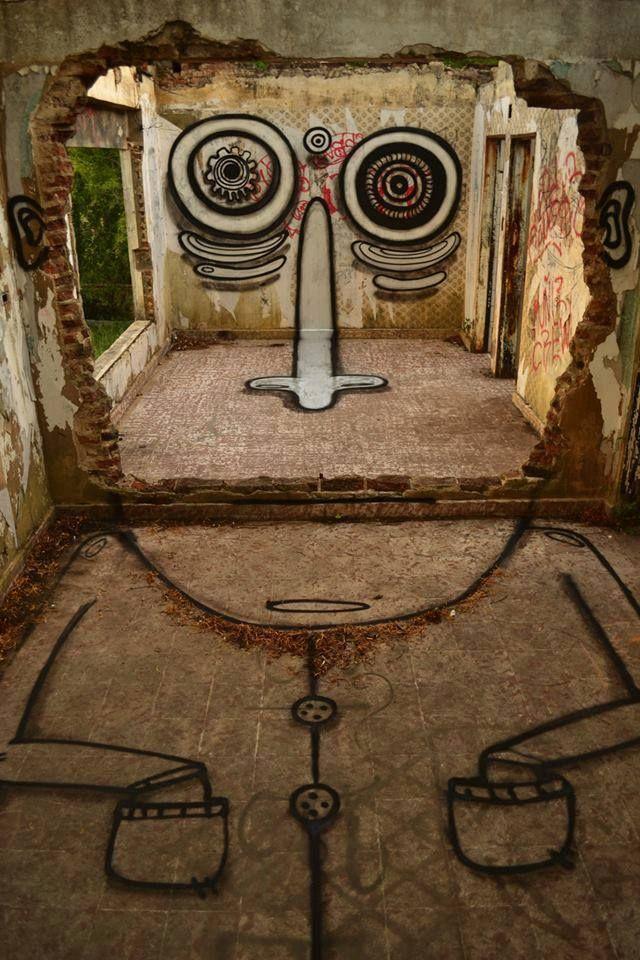 Edificio en ruinas   -   Street art façon Dali...                              …
