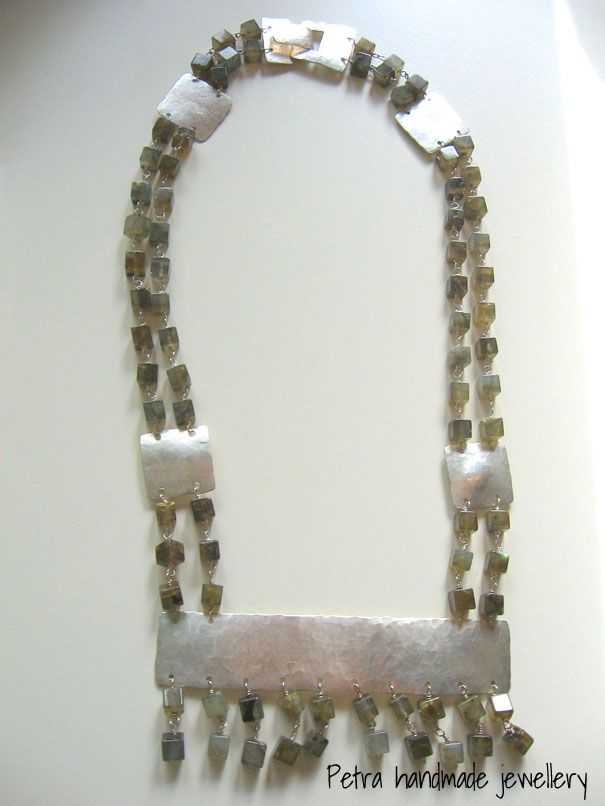 """Labradorite dream"" silver necklace with beautiful cubic labradorite beads"