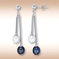 Black and white freshwater cultured pearl earrings