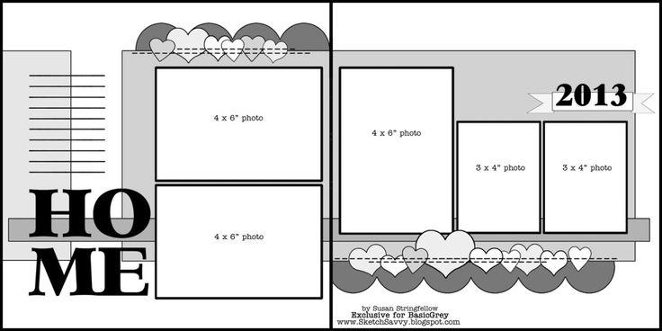 BasicGrey Scrapbook Sketch | Susan Stringfellow