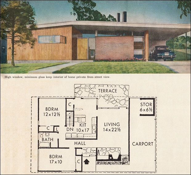 Bh mid century modern ranch floor plan mid century for Mid century ranch home plans