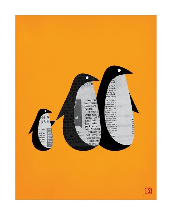 Image of Penguin News Art Print Unframed at http://www.nicholasgirling.com