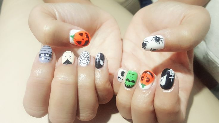 Something is creeping up behind you👻 #gelmani #halloweennails #ghostparty #pumkin #spider #frenkenstein #tombstone #vampire #Mummies #rip #sgnails #handpainted #mixnmatch #likeme #followme.     This October  (Hong Lim ) Promotion - Gel Mani and Classic Pedi $60 - Classic Pedi and Parrafin Wax Treatment $30  - Half leg wax $15 - Under Arm Wax $12  - Lash Extension $70 ( 2 pax @ $100)  Terms and Conditions Apply