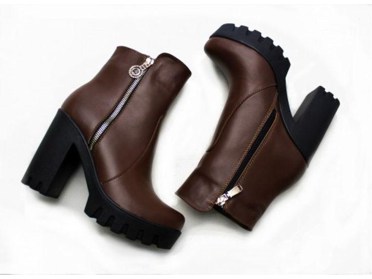 Ботинки женские коричневого цвета из натуральной кожи осень-зима коллекция 2016-2017, Б-421к