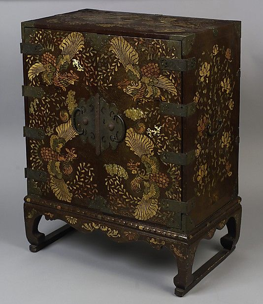 Chest,Joseon dynasty (1392–1910) Medium: Lacquered wood with mother-of-pearl, tortoiseshell, sharkskin, brass wire inlay and brass fittings