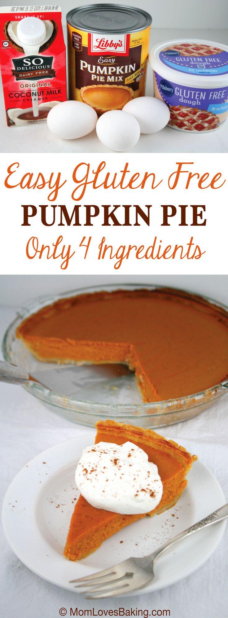Easy Gluten Free Pumpkin Pie - Only 4 ingredients! #pumpkinpie #glutenfree
