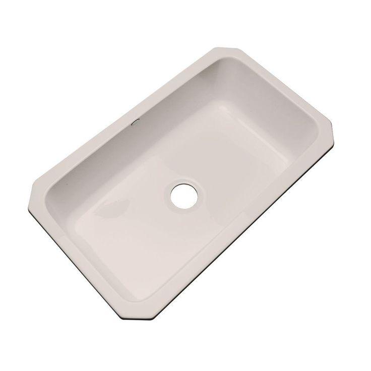 manhattan undermount acrylic 33 in single basin kitchen sink in shell white. beautiful ideas. Home Design Ideas