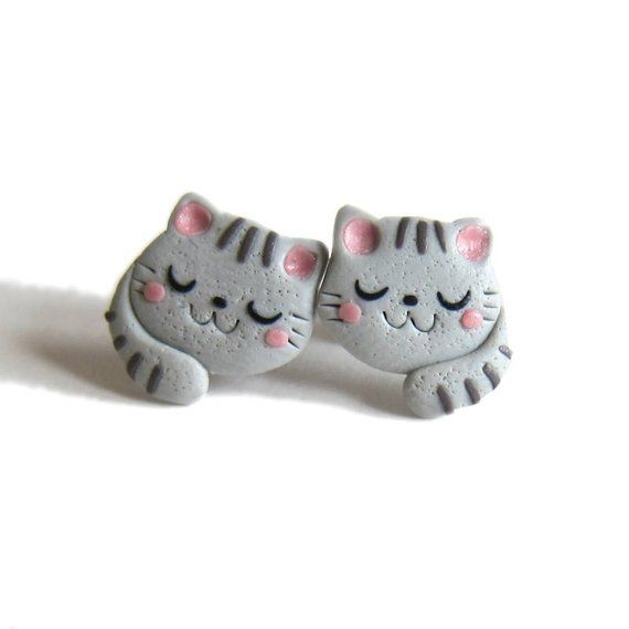 Cat Earrings, Animal Earrings, Polymer Clay Earrings, Polymer Clay Jewellery, Kids Earrings, Ladies Earrings, Cat Costume For Ladies Fimo