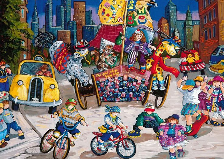 Pauline Paquin quebec artiste colorful paintings of chilhood joy brought to life in a special puzzle carnival-paquin