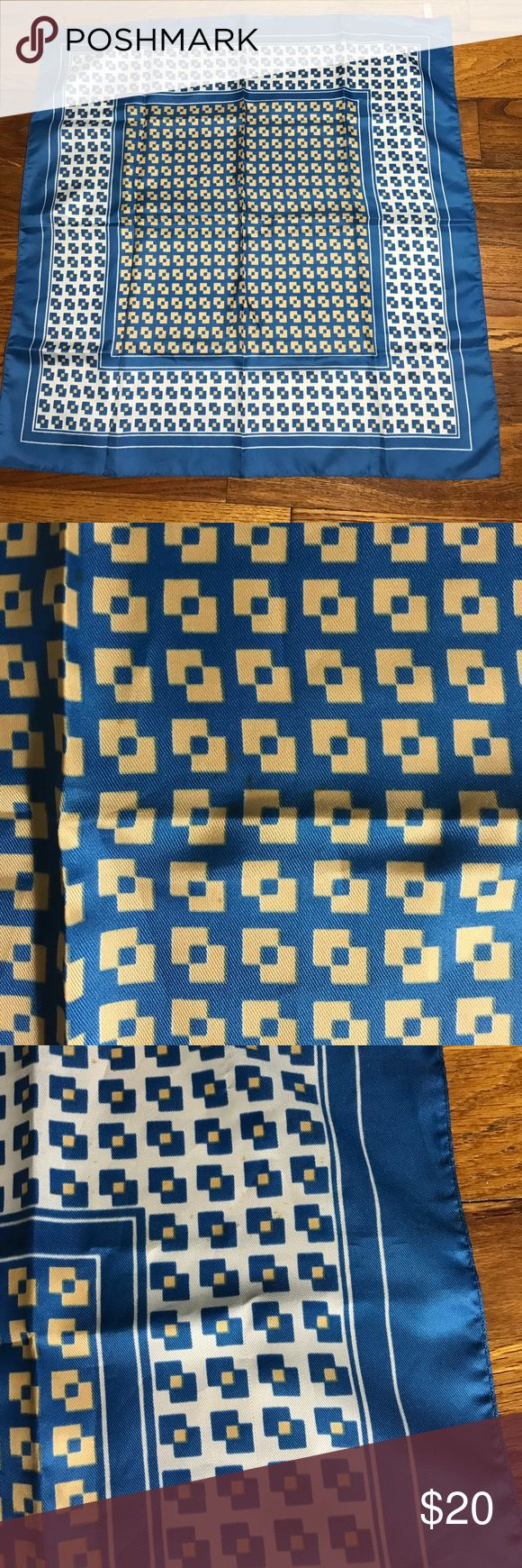 "Silk square scarf blue and white Silk square scarf 26.5"" hand rolled edges. A few small stains. Accessories Scarves & Wraps"