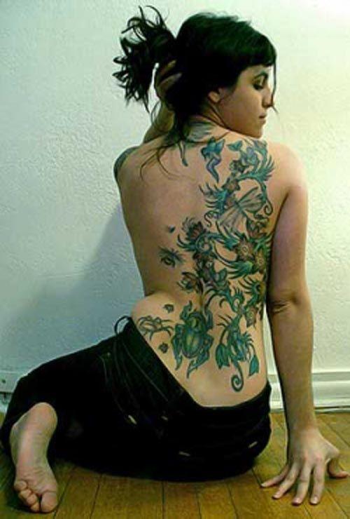 Flower Lily Vine Back Tattoo Designs For Girls 2011