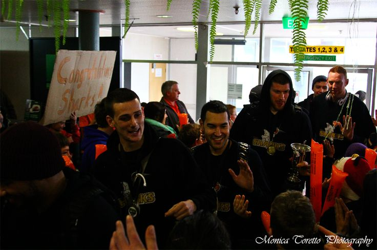 High Fives!!! NBL Champions Southland Sharks arrive at Invercargill Airport this morning. July 15, 2013.