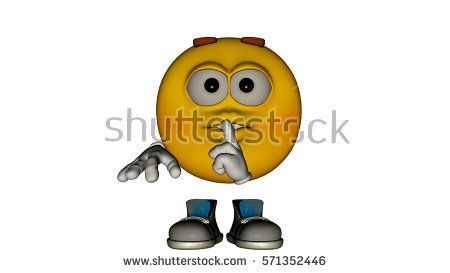 one yellow smile guy with the face and boots. Shh - Don't Tell. 3D rendering, 3D illustration