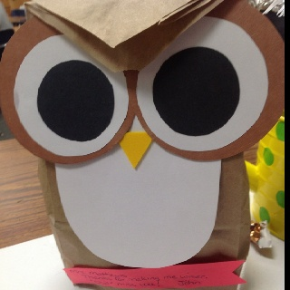 """Thanks for making me wiser.""""Owl"""" miss you. The bag is filled with candy and a gift card.  OR......Here's to helping you become a wiser child of God"""