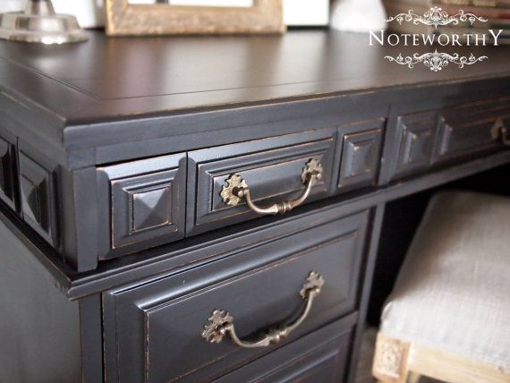Great Black Distressed Executive Desk With Vintage By Noteworthyhome, $400.00  Black Painted Desk, Home Office
